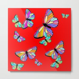 Rainbow Colored Butterflies Red art Design Metal Print