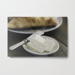 Healthy breakfast on wooden table. Metal Print