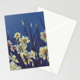 Yellow daffodils field in blue background  Stationery Cards