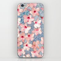 bedding iPhone & iPod Skins featuring Shabby Chic Hibiscus Patchwork Pattern in Pink & Blue by micklyn