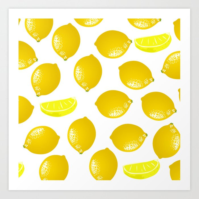 Lemon Pattern Home Decor Wall Hanging Art Print Modern Graphic ...