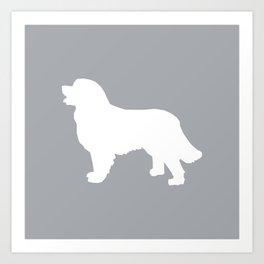 Bernese Mountain Dog silhouette grey and white minimal dog gifts Art Print
