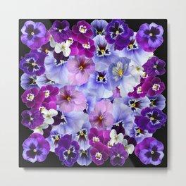 PURPLE-WHITE-PINK PANSY FLOWERS & BLACK Art Metal Print