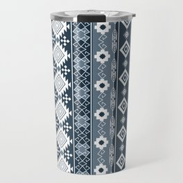 Colorful Aztec pattern with dirty blue. Travel Mug