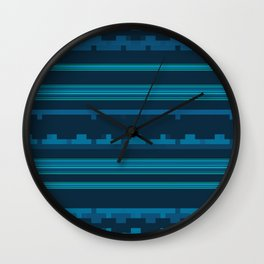 Dark Blue and Teal Stripes with Mixed Patterns Wall Clock