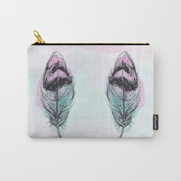 AP078 Watercolor feather Carry-All Pouch