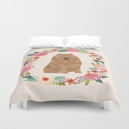 pomeranian floral wreath dog breed pet portrait pure breed dog lovers Duvet Cover