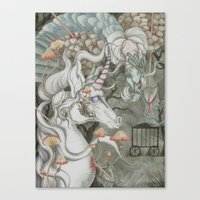 the last unicorn Canvas Prints featuring The Last Unicorn by Bonnie Johnson