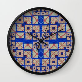 Retro Futuristic Modern Blue and Red Patchwork Geometry Wall Clock