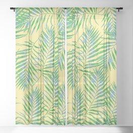 Fern Leaves Yellow Sheer Curtain