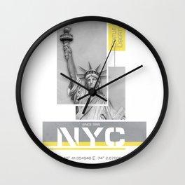 NYC Statue of Liberty | Illuminating Yellow & Ultimate Grey Wall Clock