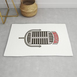 """Media"", an old fashioned microphone illustrated graphic.  Rug"