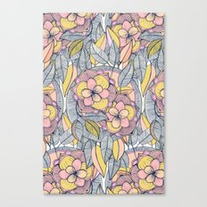 Pink and Peach Linework Floral Pattern Canvas Print