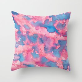 Pink and Blue Abstract Watercolour Painting Throw Pillow
