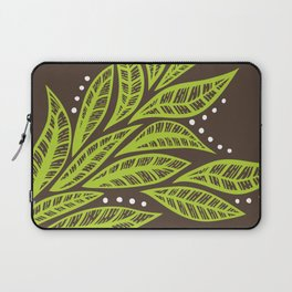 Floral tropical green leaves on brown background Laptop Sleeve