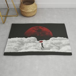 Girl in flight with a red umbrella black and white digital art photograph / black and white photography Rug
