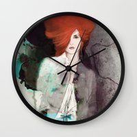 fashion illustration Wall Clocks featuring FASHION ILLUSTRATION 11 by Justyna Kucharska