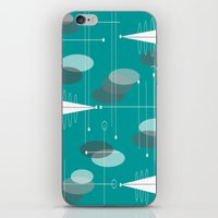 mid century modern iPhone & iPod Skins featuring Mid-Century Modern Ovals Teal by Kippygirl