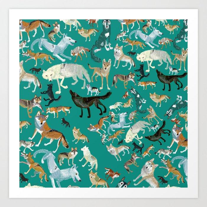 Wolves pattern in blue Art Print