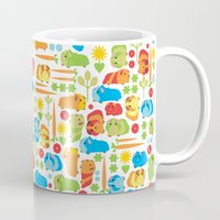 guinea pig Mugs featuring Bright Guinea Pig Vegetable Patch by Upcyclepatch