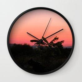 Pink and Orange Sunset Wall Clock
