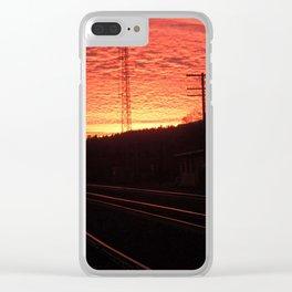 Sunset Railroad Clear iPhone Case
