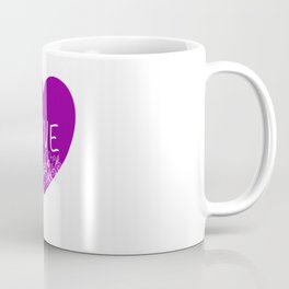 Heart Love violet with Flowers Illustration Coffee Mug