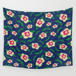 Floral Pattern in Deep Blue Wall Tapestry