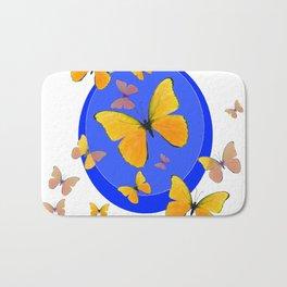 YELLOW BUTTERFLIES SWARM & BLUE RING MODERN ART Bath Mat