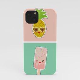 Hello Summer bright tropical card, pineapple, smoothie cup, ice cream, bubble tea. Kawaii cute face. iPhone Case