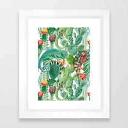 chameleon cacti pattern Framed Art Print