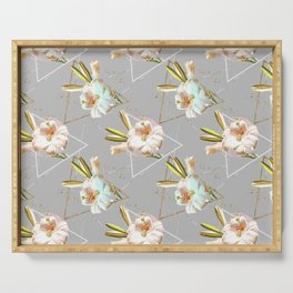 Botanical blooming with geometric 02 Serving Tray