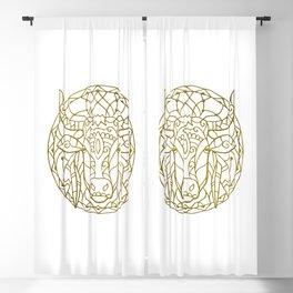 Bull Mandala Blackout Curtain