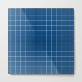 Windowpane Check Grid (pantone classic blue) Metal Print