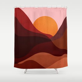 Abstraction_Mountains_SUNSET_Minimalism Shower Curtain