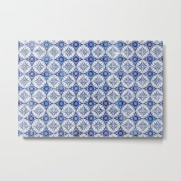 Weathered Traditional Blue Tiles Metal Print