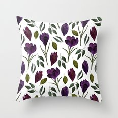 Plum Rose Garden Throw Pillow