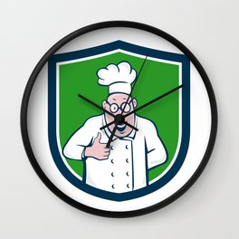 Chef Cook Thumbs Up Crest Cartoon Wall Clock
