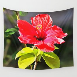 Beautiful Red Tropical Hibiscus Flower Wall Tapestry