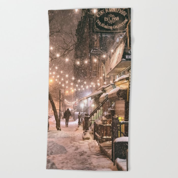 Snow - New York City - East Village Beach Towel