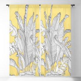 Banana Leaves Illustration - Yellow Blackout Curtain