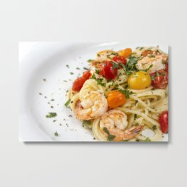 Spaghetti pasta with prawns Metal Print
