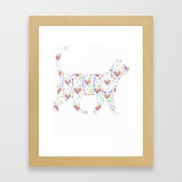 Floral Cat Cute Framed Art Print