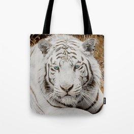 WHITE TIGER GAZE Tote Bag