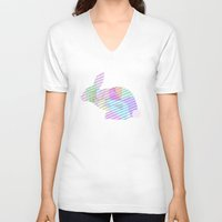 rabbit V-neck T-shirts featuring Rabbit by nessieness