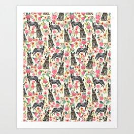 Australian cattle dog floral dog breed cream pet pattern custom gifts for dog lovers Art Print