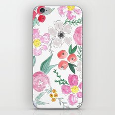 Floral Peony and Rose Watercolor Print  iPhone & iPod Skin