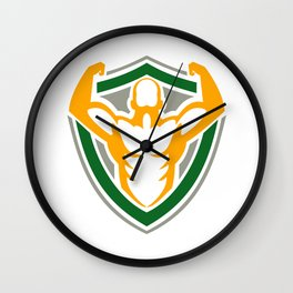 Strongman Flexing Muscles Crest Icon Wall Clock