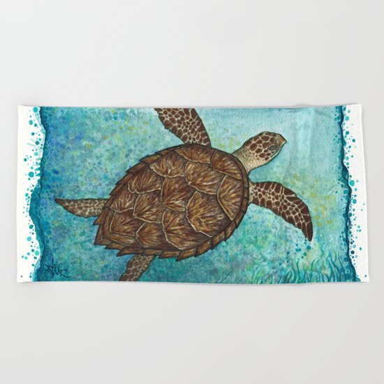 Hawksbill Sea Turtle ~ Watercolor Beach Towel