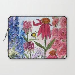 Watercolor Acrylic Cottage Garden Flowers Laptop Sleeve
